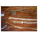 Ladies Necklaces, 9 in all, Gold tone
