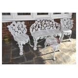 Yard or Porch Set. cast metal, 4 pieces