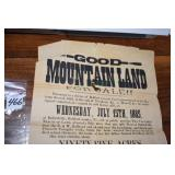 Auction Handbill, Land,Seized,2 tracts, 1885