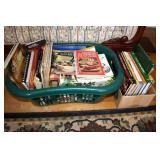 Cookbooks,Laundry Basket full & Box of