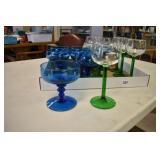 Stemware Blue & Green