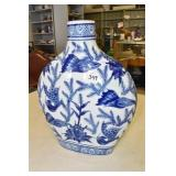 """Vase,Flat,Fishes,China 14"""" T x 3"""" Wide"""
