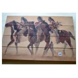 Art,Native American, on wood panel,signed, Poulin