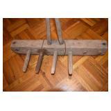 Primitive Clam Rake, long wood handle