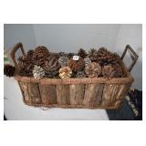 "Large basket of pinecones, 9 x 22""L"