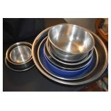 Large Group of Stainless Mixing bowls