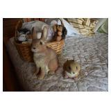 Basket of Resin & Stuffed Animal Toys