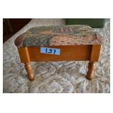 Patterned Cloth Footstool, Storage
