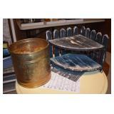 Shelf & Brass Trash Can