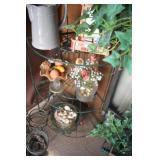 Iron corner shelf, Faux Decorative plant