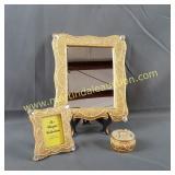 Resin Trinket, Frame & Mirror Set