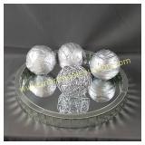 Round Mirror Tray & Decorator Natural Balls