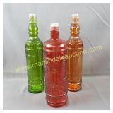 3) Decorator Bottles - Orange, Red, Green