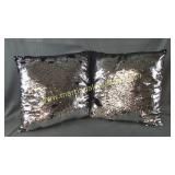 2) Silver Sequin Throw Pillow Covers