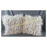 2) Satin Cord Fringed Throw Pillow Covers