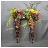 2) Floral Wall Sconces - Embossed Metal Conical
