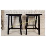 2 Black Matching Wood Stools