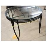"Metal & Glass Top Round Table    Approx 41"" x"