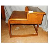 Cantilevered Smoke Glass Oak Side Table