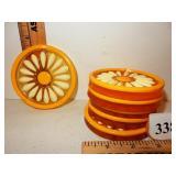 Color Flo Daisy  Acrylic Resin Drink Coasters