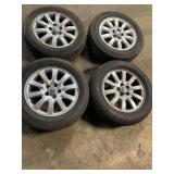 "5 lug Jaguar wheels w/tires  16"""