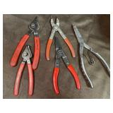 Blue point, MAC and assorted snap ring pliers