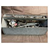 Tin tool tray and contents