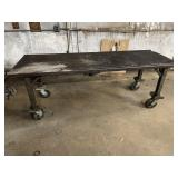 """Metal table on wheels rolls easy 25.25""""w 6 6"""