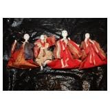 Bintage Hand Made Wood Vintage Orenital Dolls