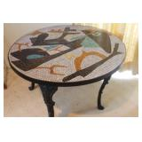 Antique  Mosaic Title Table on Wrought Iron Base