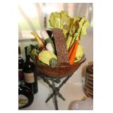 home décor of glass basket and veggies