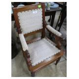 Single Oak Framed Arm Chair With Fabric Seat And B