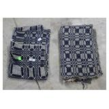 Two Blue & White Overshot Coverlet - Some Tears An