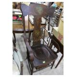 1800S Windsor Style Potty Chair With Paint Decorat