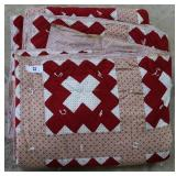 Red & White Patchwork Quilt Approx Queen Size