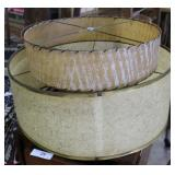 """Two Mid Century Fiberglass Shades: 20"""" X 8.5"""" And"""