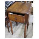 Mahogany Drop Leaf Single Drawer Side Table