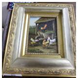 Contemporary Gold Framed Acrylic On Board Of Chick