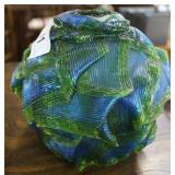 Blue & Green Lucite Ribbon Lampshade In Blue & Gre