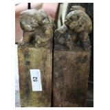 Pair Of Marble 18Th Century (?) Alabaster Stamps W