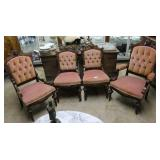 Button Tucked Parlor Set Of Three Chairs With Carv