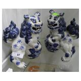 Pair Of Blue & White Chinese Foo Dogs