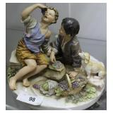 """Noritake Figure Of Kids Eating Grapes 10"""" X 12"""""""