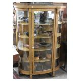 Oak Veneer Bow Front Cabinet With Five Shelves And
