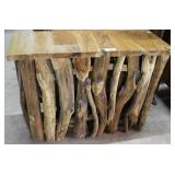 Custom Rough Cut Cypress Entry Table With Polished