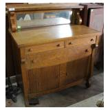 Oak Three Drawer Mirrored Back Server With Under S