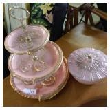 Two Pcs Mid Century Pink California Pottery: Mauri