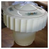 Art Deco Cream Colored Glass Lampshade With Floral