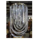 Mid Century Curved Lucite & Metal Chandelier