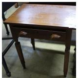 Cherry Finish Single Drawer Side Table With Floral